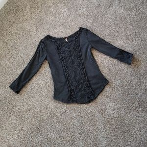 FREE PEOPLE Charcoal 3/4 Sleeve Blouse Size Small